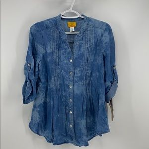 Ruby Rd. Pun tucked the dyed chambray peasant top